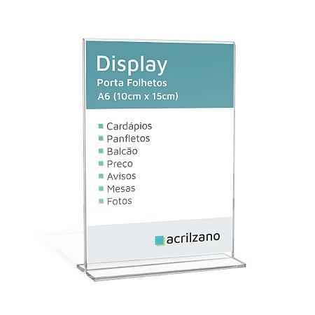 Display Acrílico Porta Folha A6 em T 10x15cm