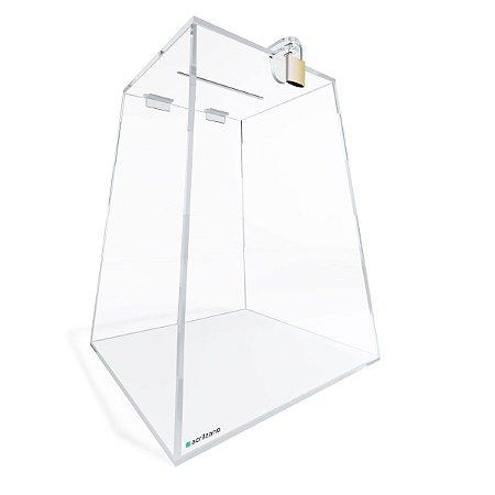 Urna de Acrílico Transparente Piramidal 25cm com Cadeado