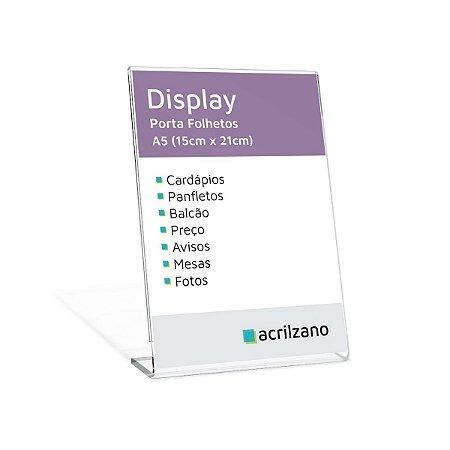 Display Em Acrílico Em Formato L Folha A5 Vertical