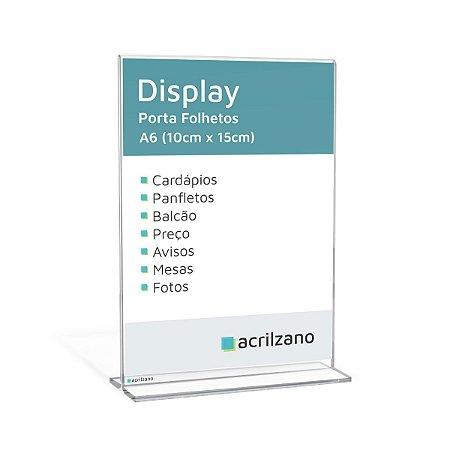 Display Em Acrílico Em Formato T Invertido Folha A6 Vertical