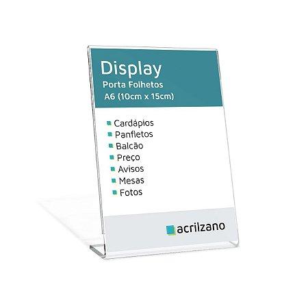 Display Em Acrílico Em Formato L Folha A6 Vertical