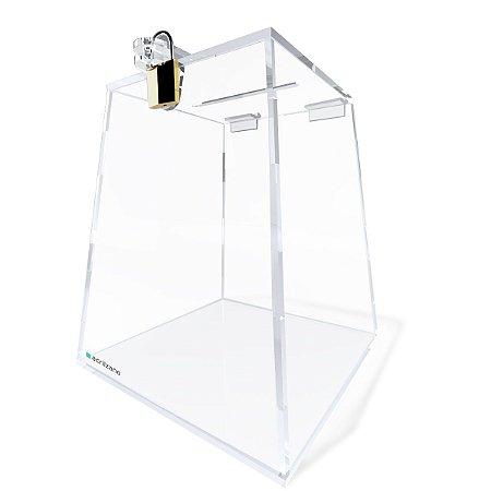 Urna Piramidal Transparente 15cm Com Cadeado