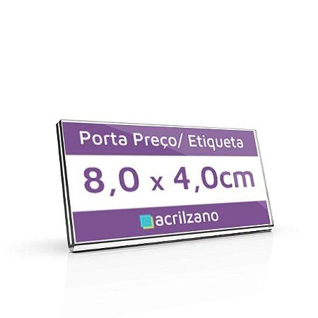 Porta Preço E Etiqueta De Acrílico Transparente Em U 8,0x4,0cm