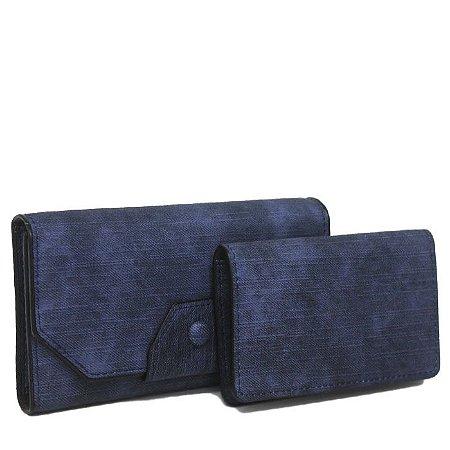 Carteira Feminina e Porta-Cartão Azul