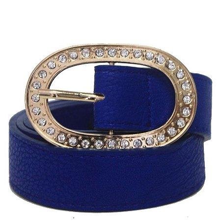 Cinto Feminino Azul com Fivela em Pedras Brilhantes