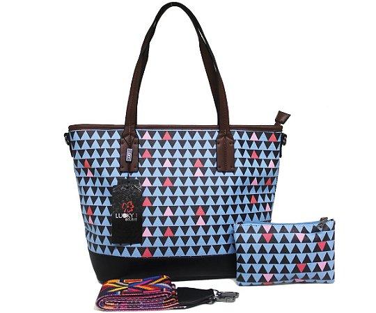 Kit Bolsa Feminina e Carteira Mosaico Azul