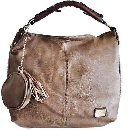 Bolsa Feminina Grande Saco com Porta-Moedas Caqui