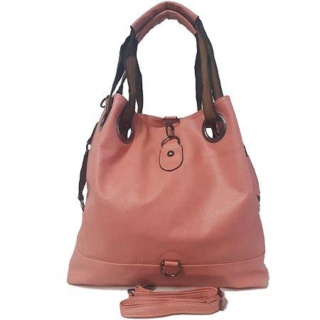 Bolsa Feminina Grande Tipo Saco Rosa Claro