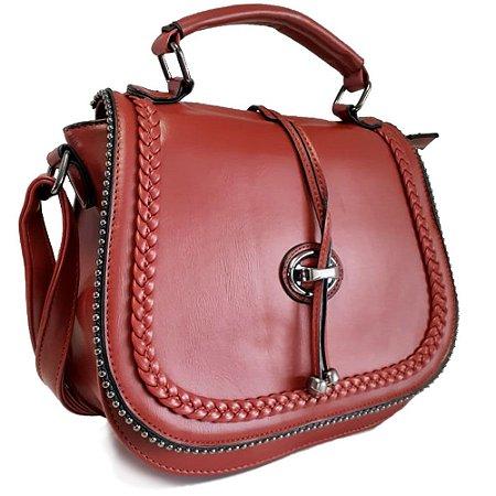 Bolsa Transversal Grande Luxo Detalhe em Trançado Vermelha