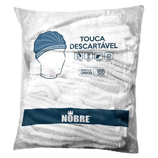 Touca Descartável Branca Nobre - c/100