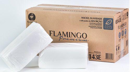 Papel Toalha Interfolhado Folha Dupla 21x20 Flamingo - Caixa com 2400 folhas