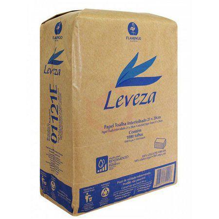 Papel Toalha Interfolhado Folha Simples 21x20 Leveza - Pacote com 1000 folhas