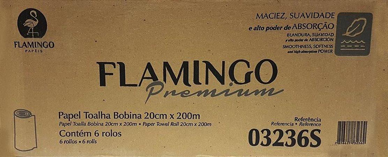 Papel Toalha Bobina 20x200 Flamingo 24g - Caixa com 6 rolos