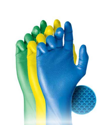 Luva nitrílica Super Safety - Azul, amarela e verde