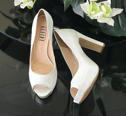Peep Toe Tecido Off White
