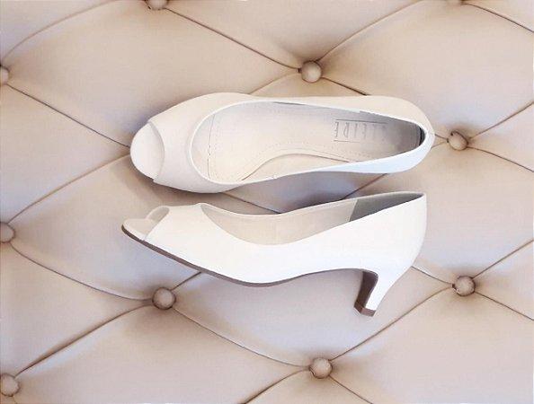 Peep toe couro Branco