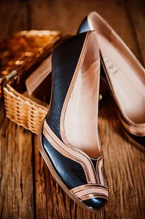 Sapato metalizado Marinho
