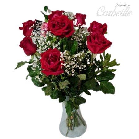 Arranjo de 12 Rosas Vermelhas no Vaso