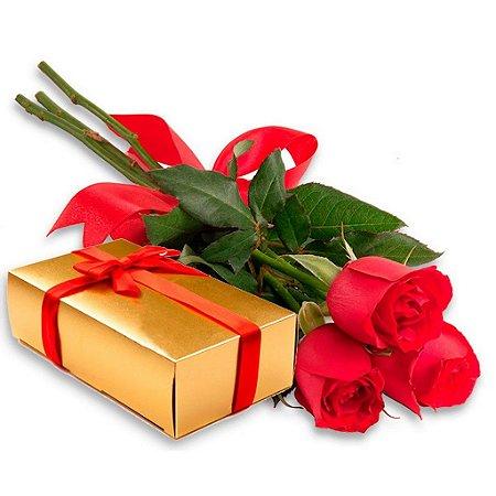 Ramalhete de 3 Rosas vermelhas com Caixa de Bombons