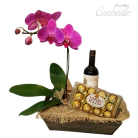 KIT Orquídea Pink no Cachepot de Madeira + Caixa de Bombom Ferrero Rocher 12 unidades + Vinho Tinto Importado