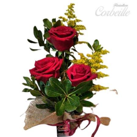 Arranjo com 3 Lindas Rosas Vermelhas