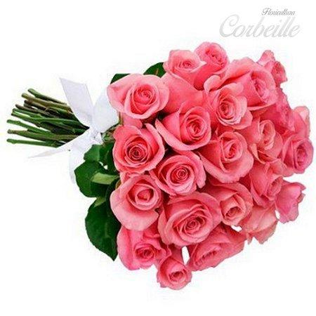 Buquê de 24 lindas rosas cor de rosa