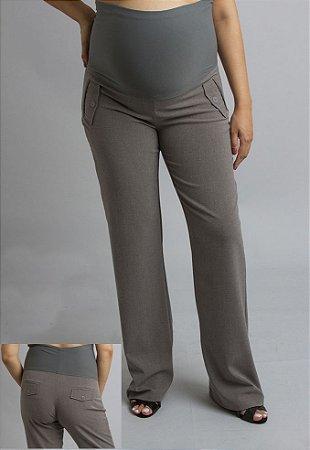 Calça Social Alfaiataria Pantalona Gestante Akaxa