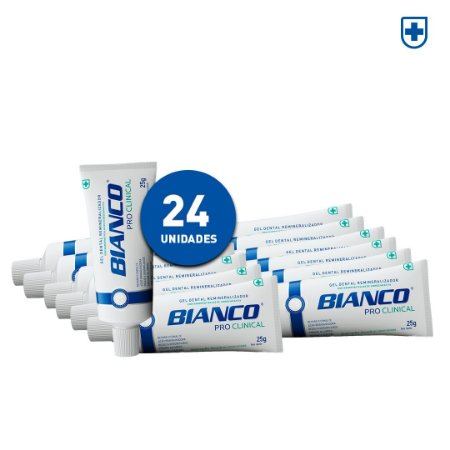 24 un de Creme Dental Bianco Pro Clinical Mini (25g)