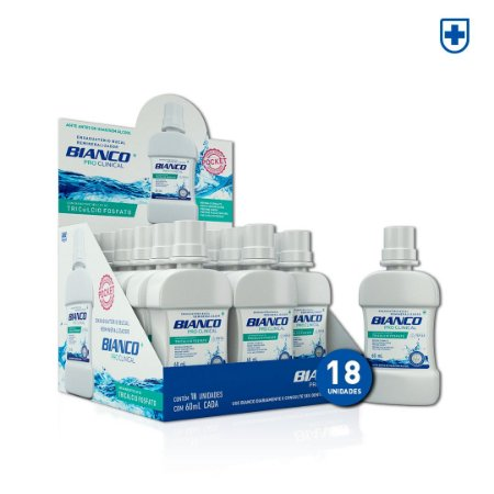 Display Enxaguante Bucal Bianco Pro Clinical Mini 60 ml (18 un)