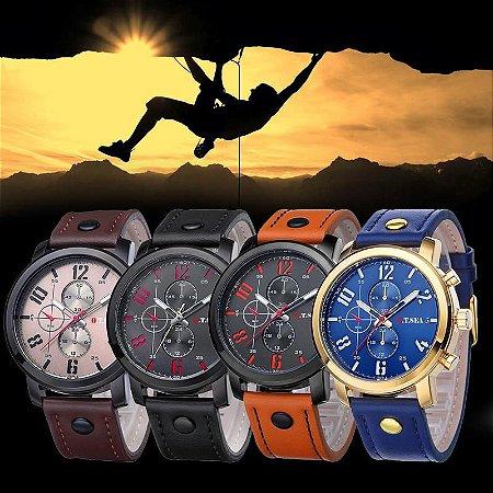 KIT de 4 Relógios Masculinos Outdoor Esportivo em Couro Sintético