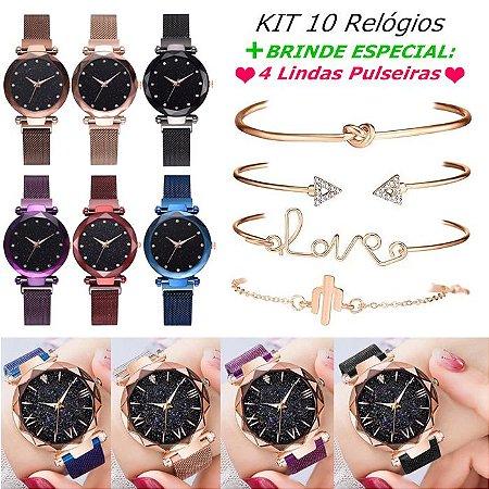 Kit 10 relógios femininos (fecho magnético) + 4 pulseiras de brinde