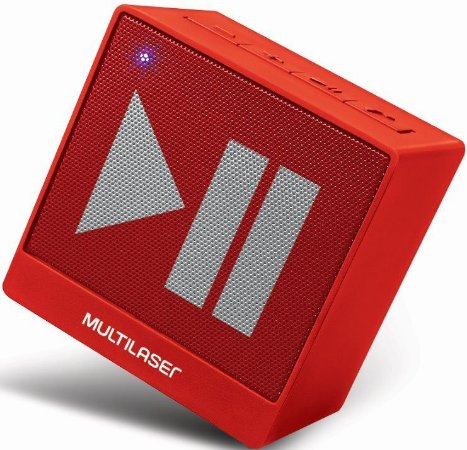 Caixa Bluetooth Multilaser SP279 8W, Vermelha, Entrada Auxiliar P2, Função Hands Free, Bateria de Longa Duração.