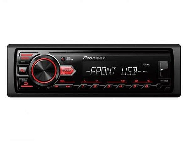 Auto Rádio Pioneer MVH 98UB, USB Frontal, RCA, Entrada auxiliar, AM / FM