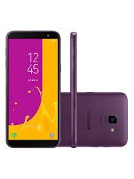 "Smartphone Samsung Galaxy J6, TV Digital HD, 64GB, RAM 2GB, 5.6"", Android 8.0, 13MP, frontal de 8MP com Flash, Dual Chip, 4G, Roxo"