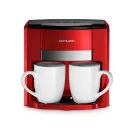 Cafeteira Multilaser 2 Xícaras 127V 500W - Filtro Permanente e Colher Dosadora - Vermelho