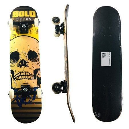 Skate Solo Montado Profissional Skull Amarelo