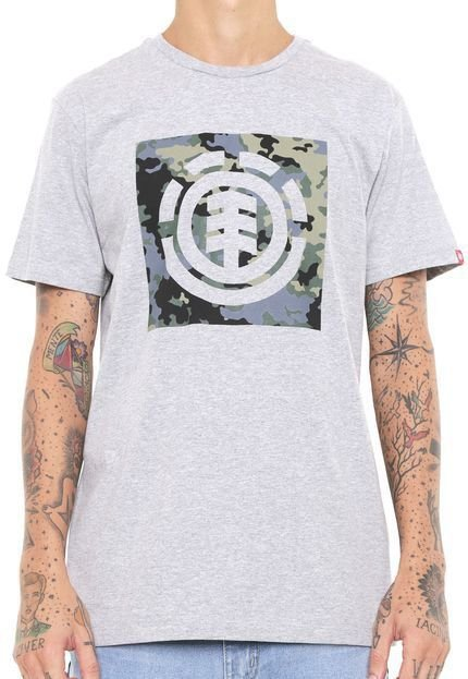 Camiseta Element Camuflada Block  Cinza Masculino