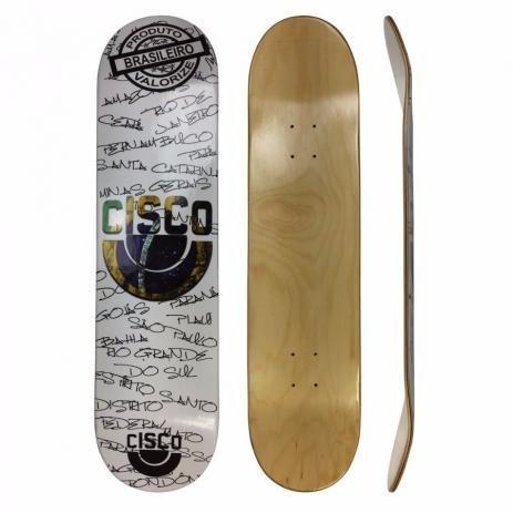 """Shape Marfim Cisco Skate Fn+r Brasão Black e White 8.25"""""""