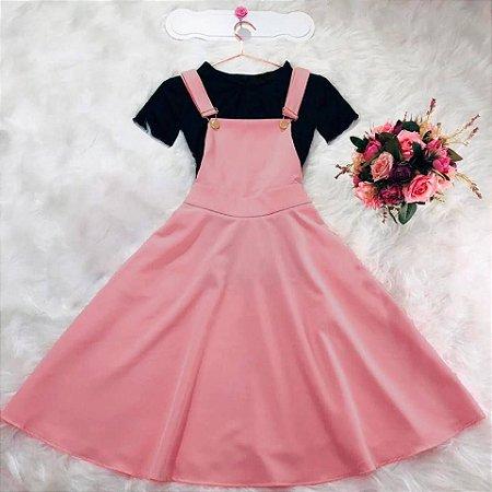 Vestido Jardineira rose