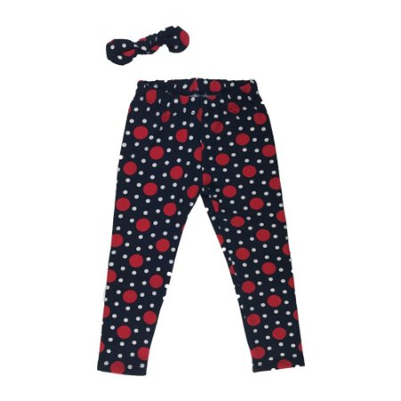 Calça Legging Infantil Peluciada Molecotton Poá - Vermelho e Branco - Deka Baby & Kids Multimarcas