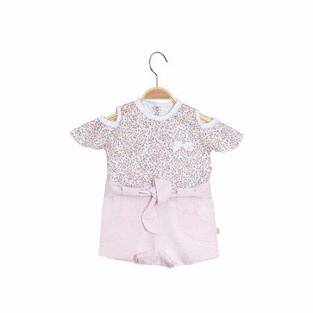 Macaquinho Bebê Shorts Cintura Alta - Liberty - Rosa - Keko