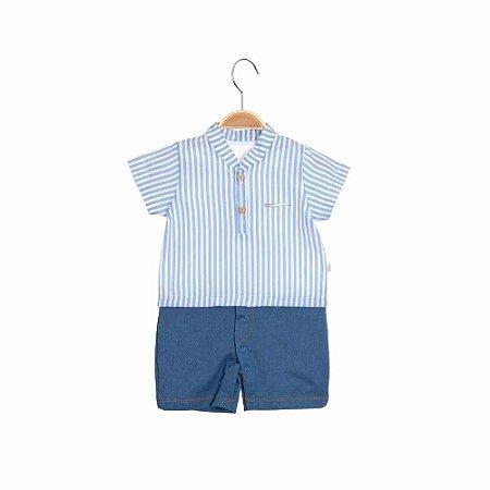 Macacão Curto Camisa Gola Padre Bebê Menino - Listrado - Keko