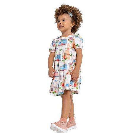 Vestido Bebê em Crepe com Babado e Manga Princesa - Playground
