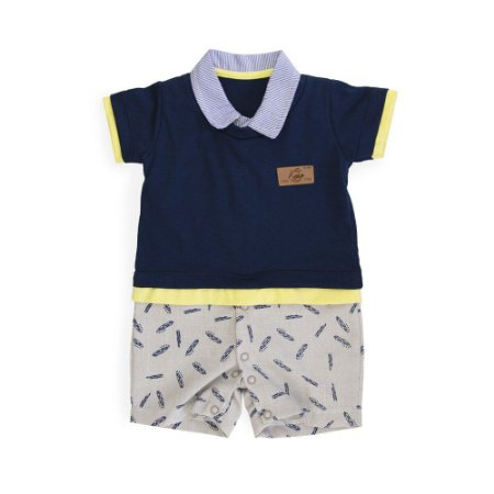 Macacão Camisa Bebê Mini Folhas - Keko Baby