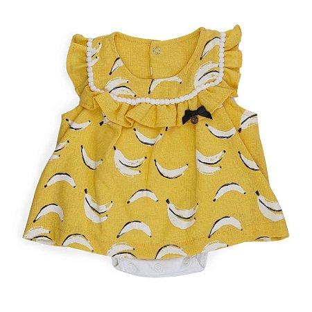 Vestido bebê Luxo Bananas de Linho - Keko Baby