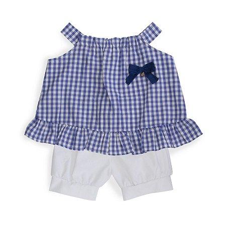 Conjunto Bebê - Bata Xadrez e Shorts Branco - Keko Baby