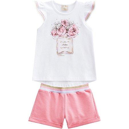 Conjunto Infantil Feminino Blusa Strass + Short Milon