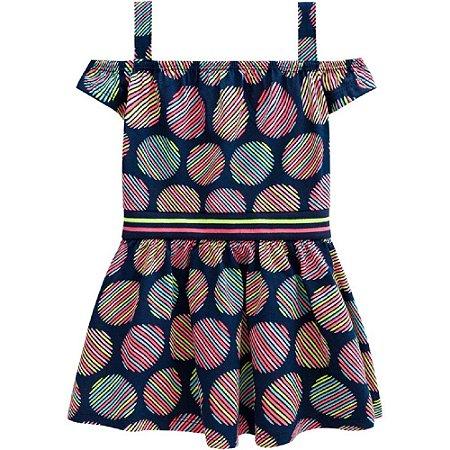 Vestido Infantil Feminino Bolas Listradas - Kyly