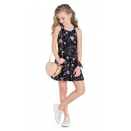 Vestido Infantil Feminino Flores Estampa Colorida - Kyly
