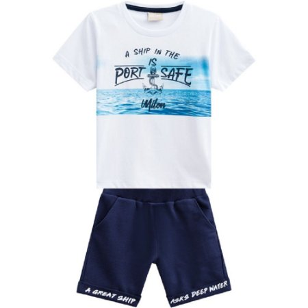 Conjunto Infantil Masculino Camiseta com Relevo + Bermuda Milon